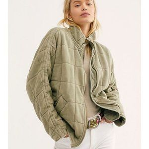 Free People Quilted Dolman Knit Jacket Pine  L
